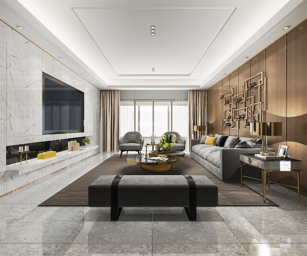 3d rendering loft luxury sala de estar com estante