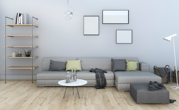 3d rendering nice vintage cinza sala de estar com mobiliário