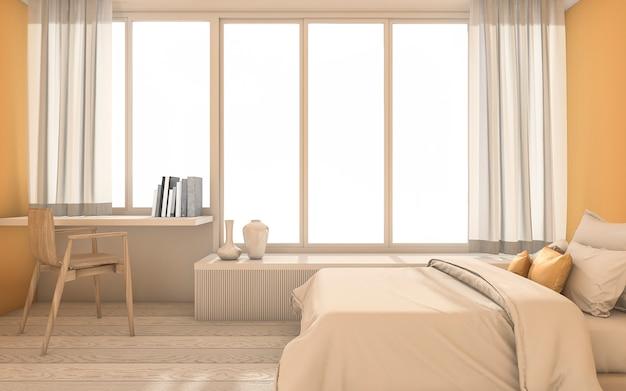 3d rendering quarto amarelo mínimo com decoração agradável