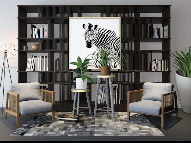 3d rendering simples cadeira estante decoração