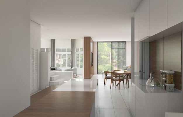 3d, renderização, agradável, contador, cozinha, perto, sala jantar, com, jardim