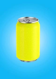3d renderização amarela lata de refrigerante