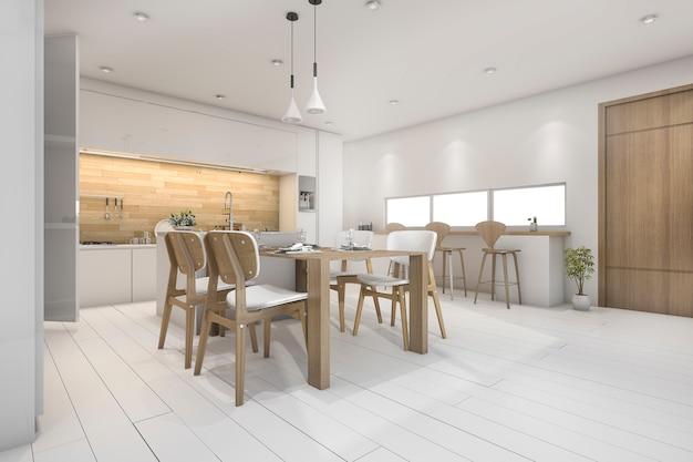 3d renderização branca cozinha com bar e mesa de jantar
