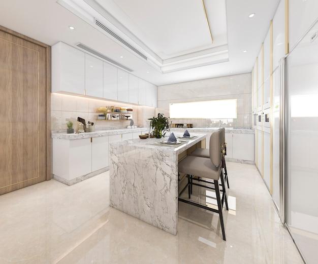 3d, renderização, branca, mínimo, cozinha, com, luxo, decoração