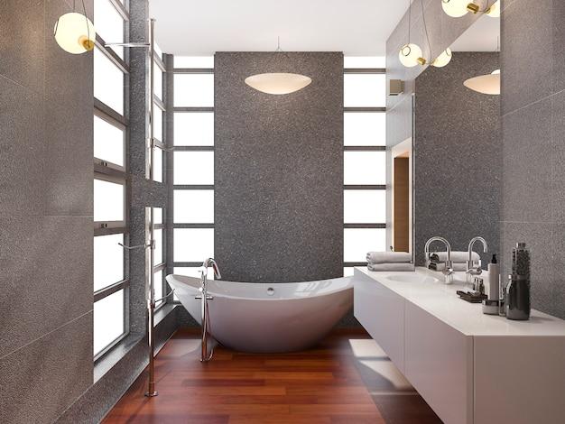 3d, renderização, cinzento, inoxidável, metal, banheiro, com, azulejo branco, e, pedra, até