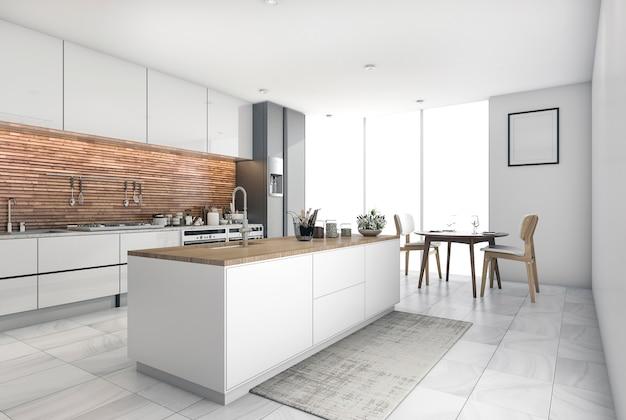 3d, renderização, contemporâneo, cozinha, barzinhos, em, sala jantar