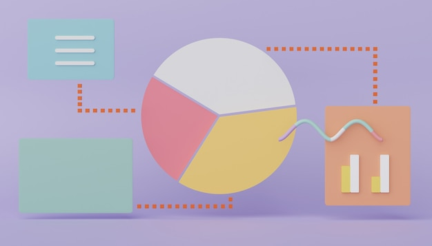 3d renderização de dados de gráfico de pizza de seo um gráfico de gráfico de negócios de interface de usuário analítico para planejamento futuro