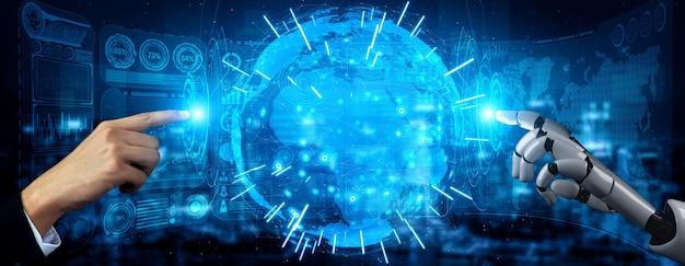 3d renderização de inteligência artificial ai pesquisa de robô e desenvolvimento de ciborgue para o futuro das pessoas que vivem. projeto de tecnologia de mineração de dados digital e aprendizado de máquina para o cérebro do computador.