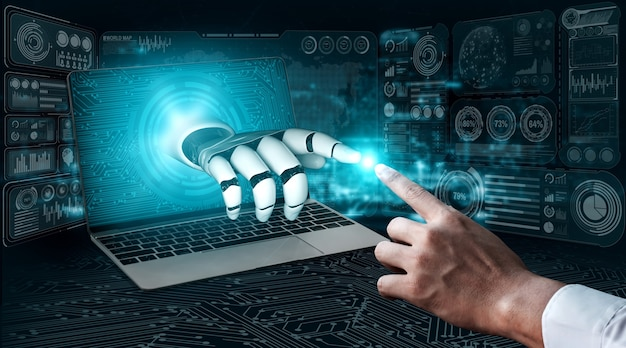 3d renderização de inteligência artificial ia pesquisa de robô