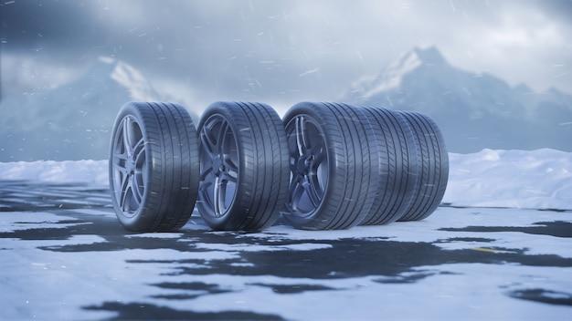 3d renderização de pneus de carro rolando em uma estrada com neve sob a neve caindo em 4k