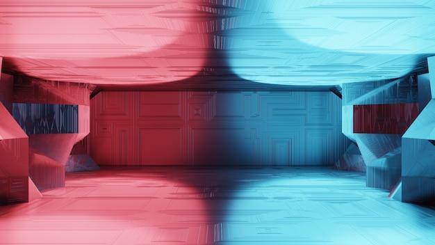 3d renderização ficção científica interior pódio