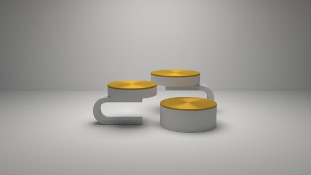3d renderização geométrica ouro podiu