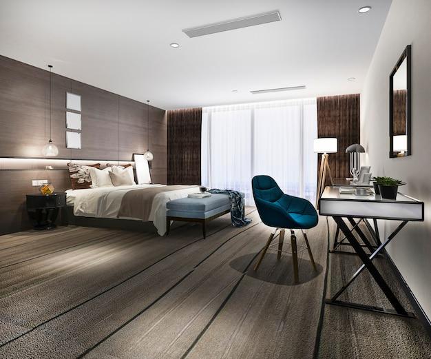 3d, renderização, luxo moderno, quarto suite, em, hotel, com, trabalhando mesa