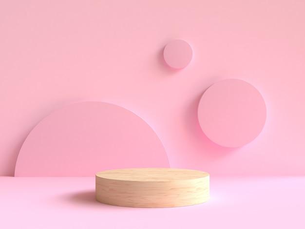 3d, renderização, madeira, pódio, mínimo, rosa, parede, cena, fundo