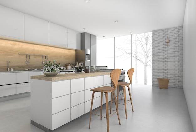 3d renderização mínima barra de cozinha com zona de refeições