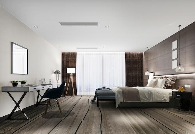 3d renderização moderna suíte de luxo quarto no hotel