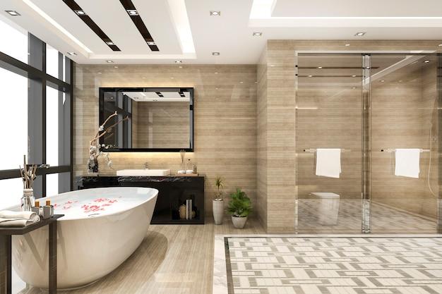 3d, renderização, modernos, loft, banheiro, com, luxo, azulejo, decoração