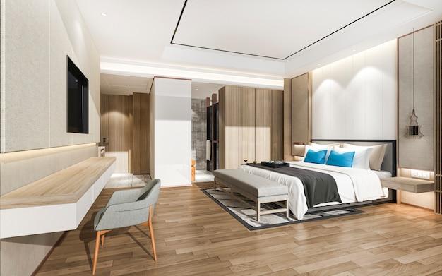 3d, renderização, modernos, luxo azul, quarto, suíte, e, banheiro