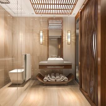 3d, renderização, modernos, luxo, madeira, banheiro, em, suite hotel