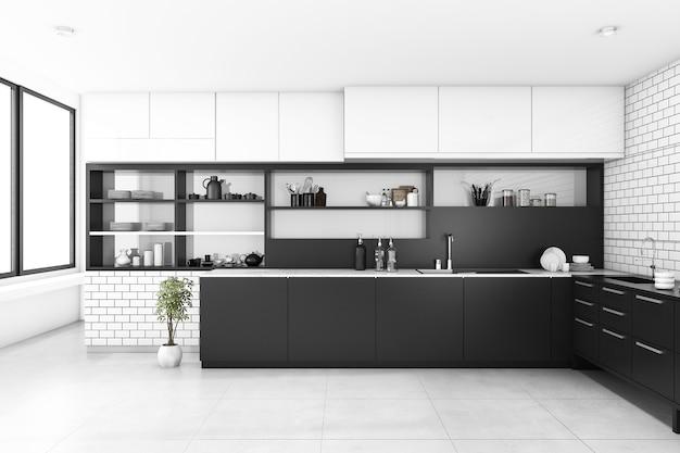3d, renderização, pretas, cozinha, com, parede tijolo