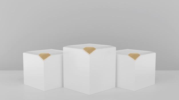 3d renderizada ilustração com formas geométricas com ouro diamante