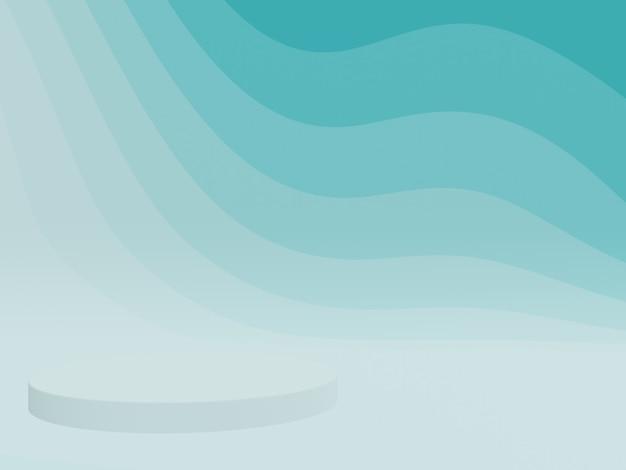 3d renderizado abstrato azul esverdeado gráfico contorno pódio