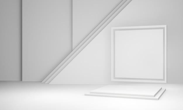 3d renderizado branco geométrico estágio