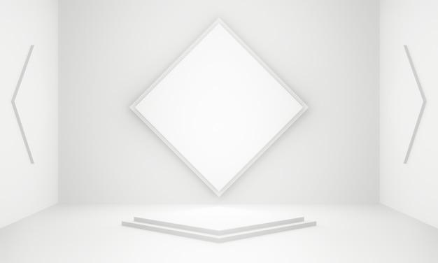 3d renderizado branco geométrico pódio do palco