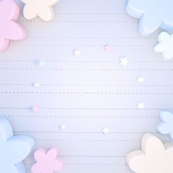 3d renderizado com flores coloridas em tons pastel em um caderno