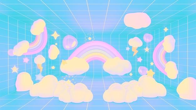 3d renderizado com nuvens de arco-íris kawaii e sala de grade de estrelas