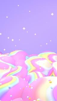 3d renderizado com ondas de arco-íris, montanhas e estrelas verticais