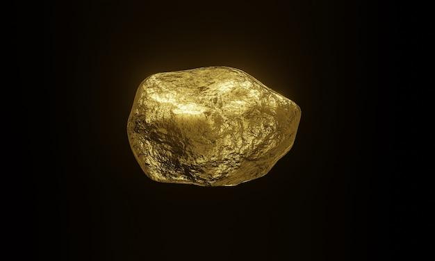 3d renderizado com pepitas de ouro puro em preto