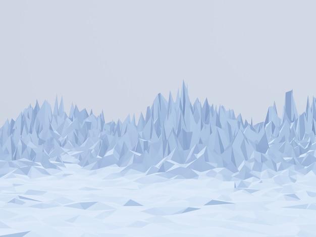 3d renderizado de baixa montanha de gelo