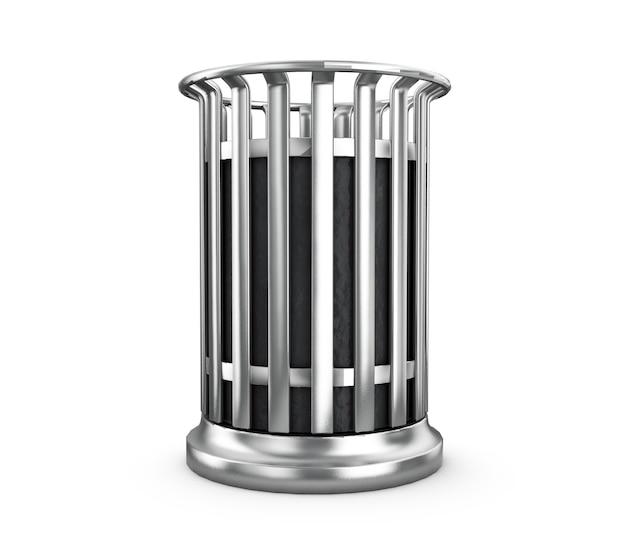 3d renderizado de lata de lixo no fundo branco com sombra