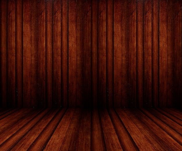 3d renderizado de um estilo grunge interior de sala de madeira