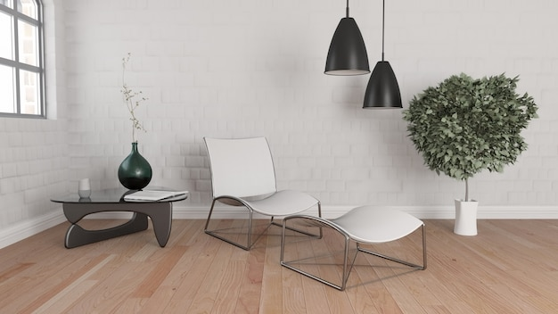 3d renderizado de um quarto moderno interior