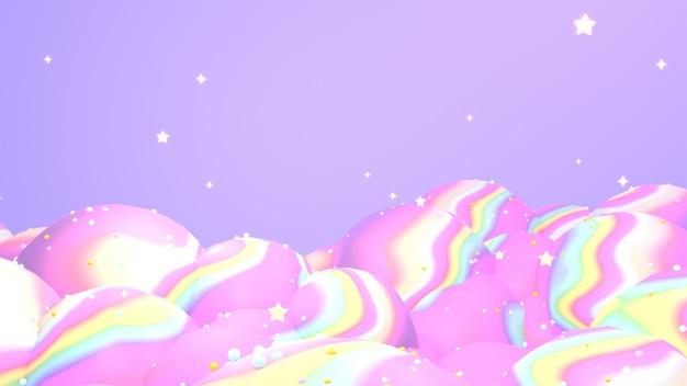 3d renderizado em montanhas de ondas de arco-íris