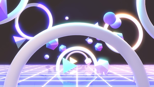 3d renderizado em néon brilhante mundo geométrico