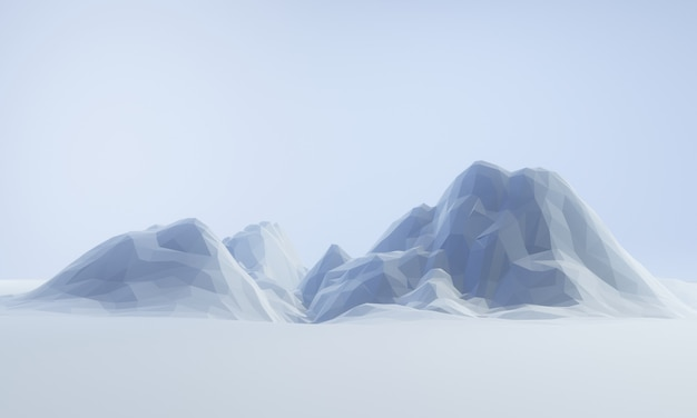 3d renderizado low poly iceberg.