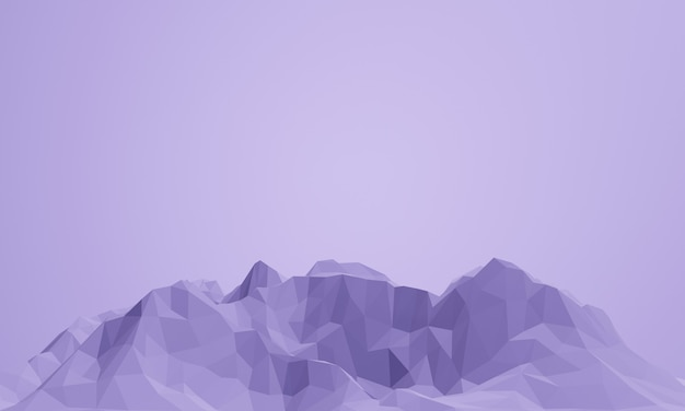 3d renderizado montanha roxa baixa poli.