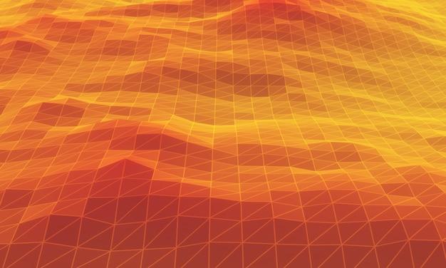 3d renderizado montanha topográfica de baixo polígono. terreno com grade vermelha e amarela.