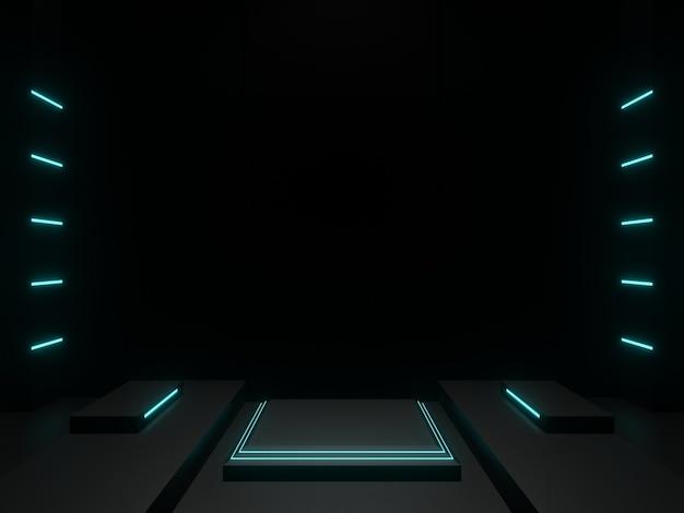 3d renderizado palco científico preto com luzes de néon azuis