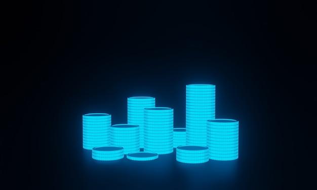 3d renderizado pilha de moedas em fundo preto.