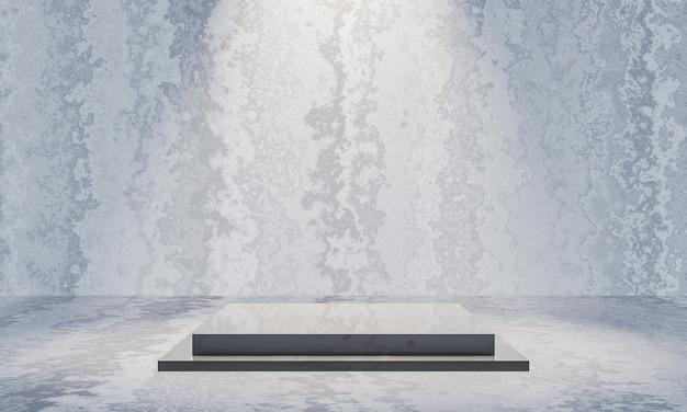 3d renderizado pódio preto com fundo de parede de cimento