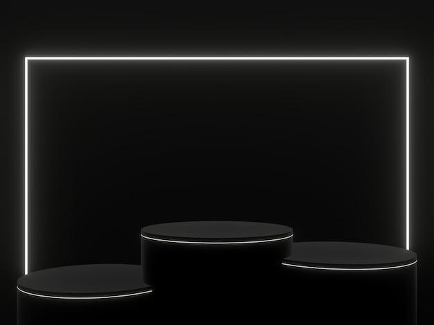 3d renderizado pódio preto com luzes brancas. suporte de produto.