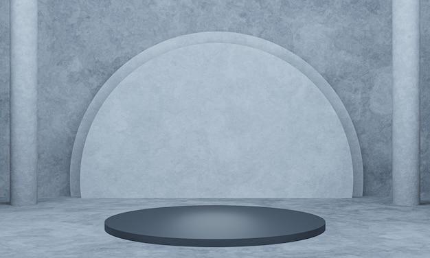 3d renderizado preto metálico pódio com fundo de parede de cimento