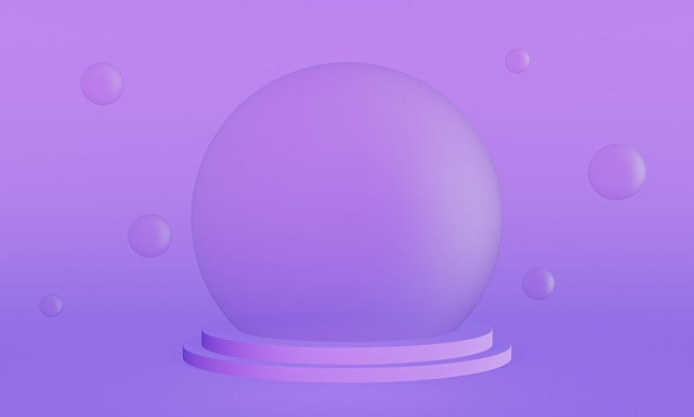 3d renderizado púrpura do palco da bolha