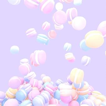 3d renderizado uma pilha de macarons pastel coloridos