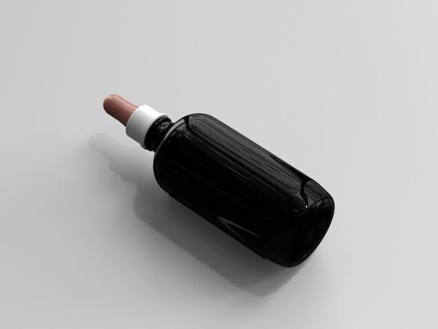3d rendeu a garrafa grande do conta-gotas da cor ambarina sem uma etiqueta