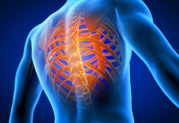 3d rendeu a ilustração de um homem que tem uma dor nas costas